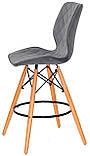 Полубарный стул Nolan бархат, серый  B-1004 Bar 65 см, на деревянных буковых ножках, код 11066, фото 3