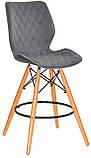 Полубарный стул Nolan бархат, серый  B-1004 Bar 65 см, на деревянных буковых ножках, код 11066, фото 2
