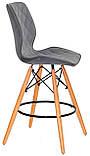 Полубарный стул Nolan бархат, серый  B-1004 Bar 65 см, на деревянных буковых ножках, код 11066, фото 4