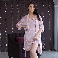 Комплект женский бархатный пеньюар и халат пудрового цвета