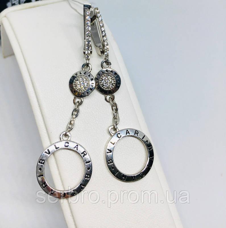 Родированые срібні сережки з підвісом Стиль 4