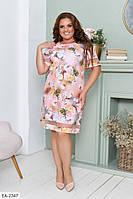 Нарядное прямое женское платье за колено на лето больших размеров 50-56 арт 115