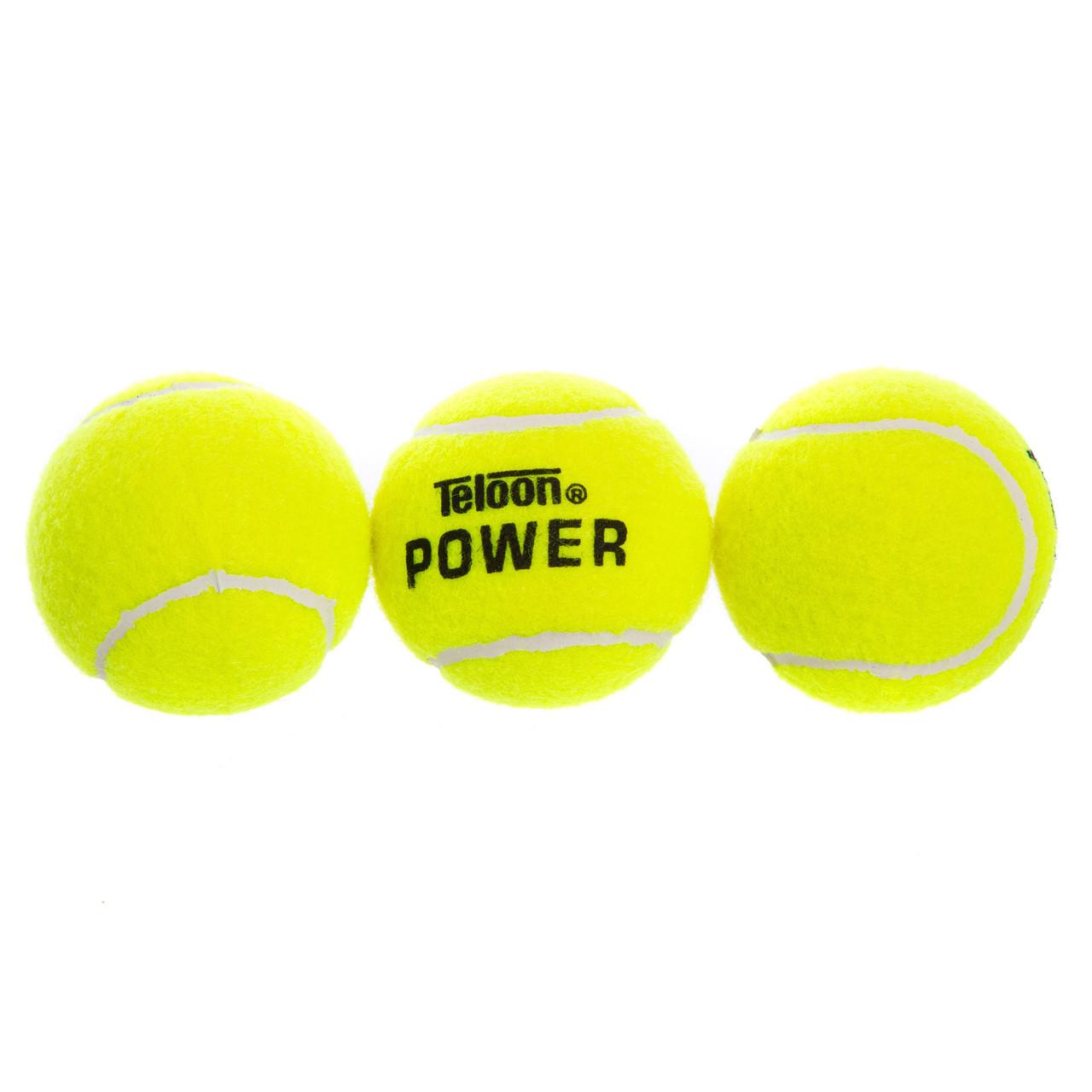 Мяч для большого тенниса TELOON (3шт) POWER (в вакуумной упаковке, салатовый)