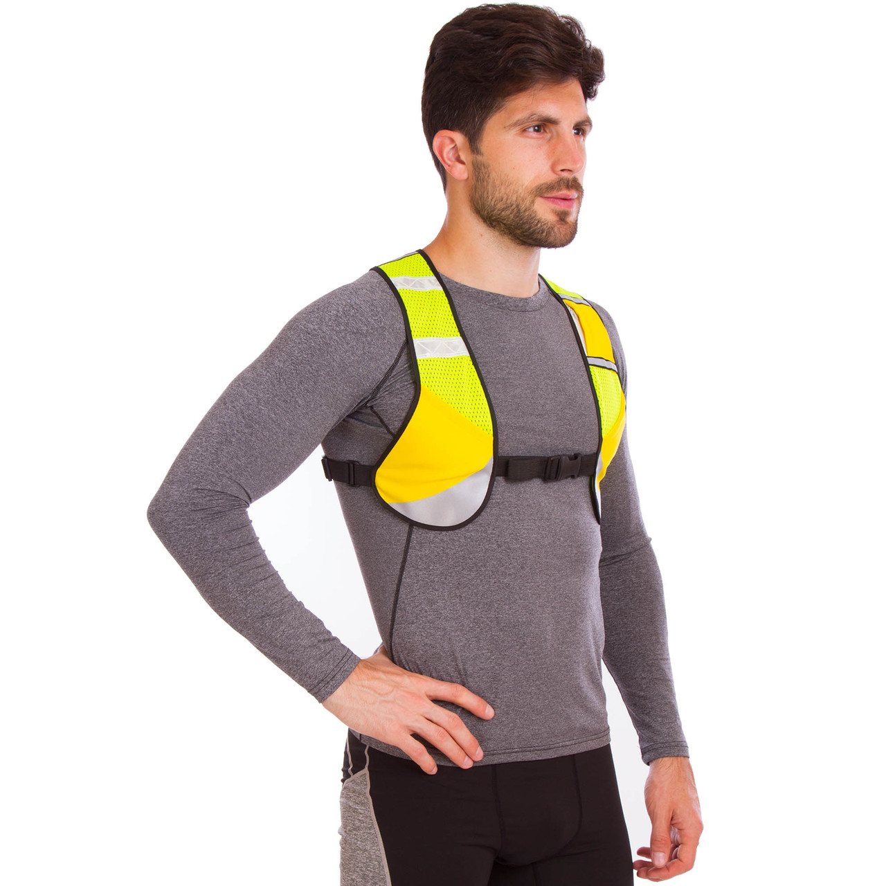Жилет светоотражающий с карманом для прогулок и тренировок в темное время суток (с ремнем, полиэстер, цвета в