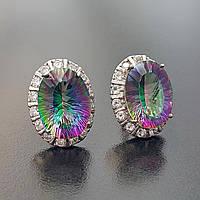 Серьги мистик топаз серебряные вечерние яркие овальные натуральные камни фианит