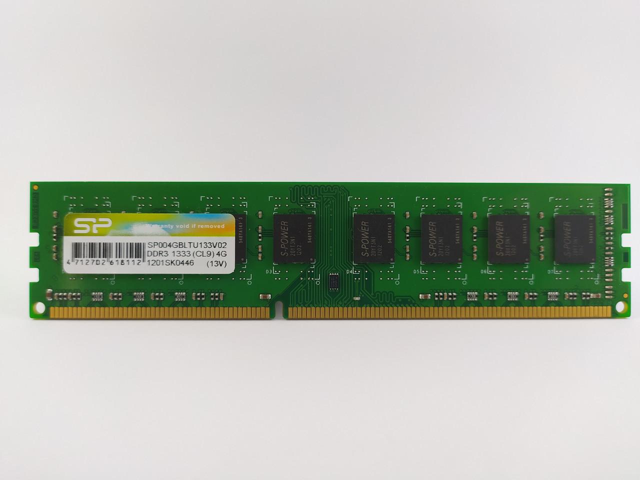 Оперативная память Silicon Power DDR3 4Gb 1333MHz PC3-10600S (SP004GBLTU133V02) Б/У