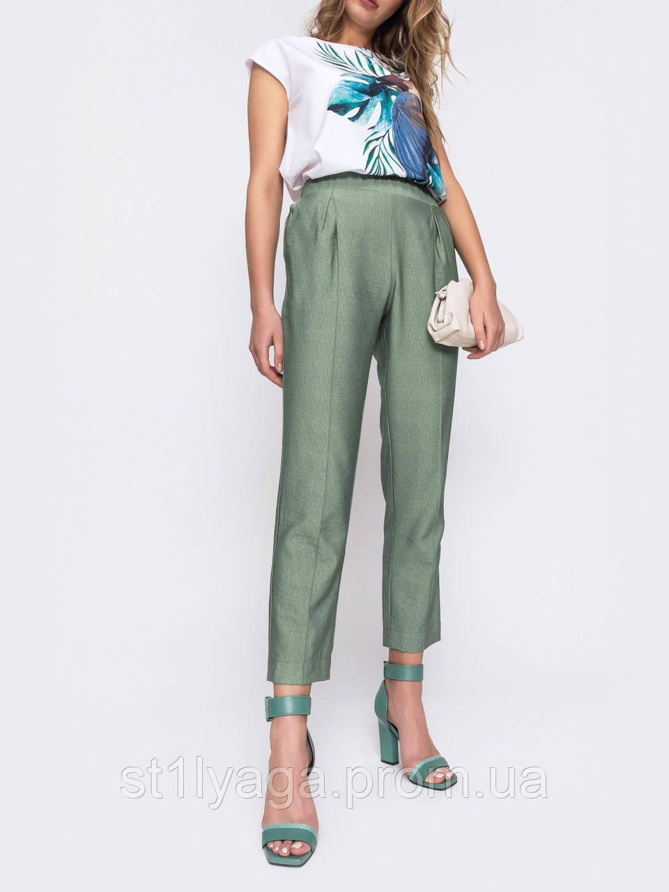 Стильные укороченные брюки с поясом