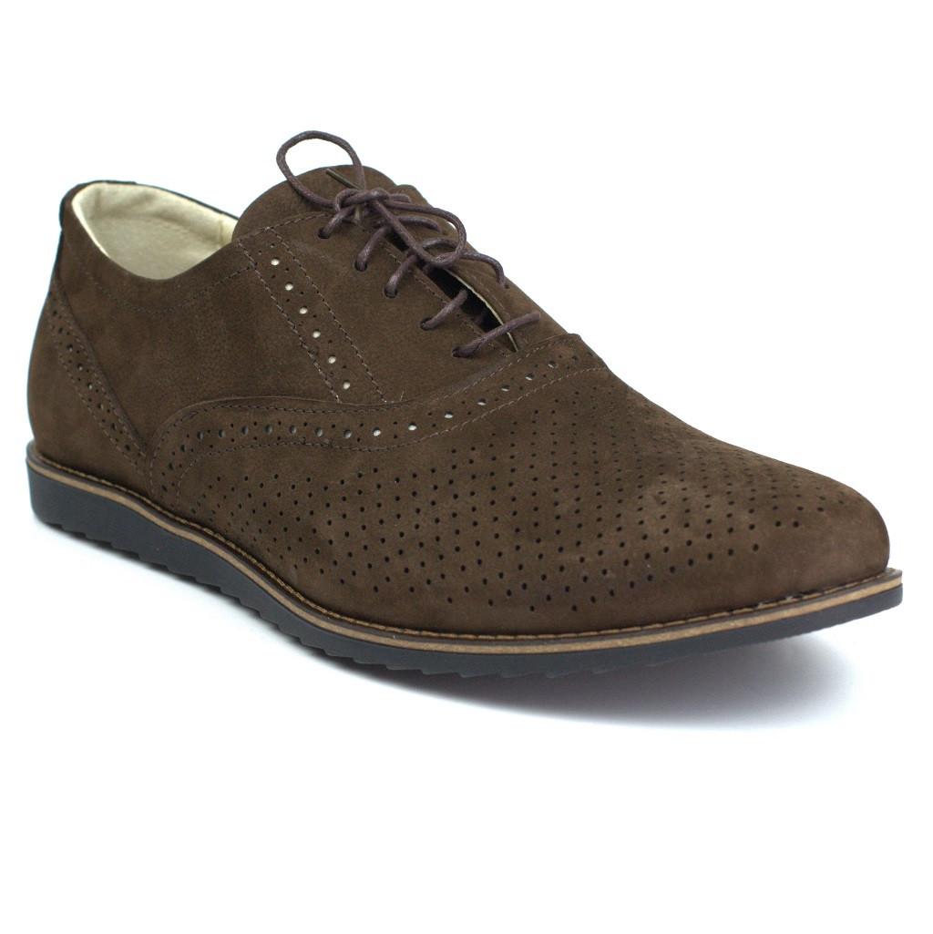 Взуття великих розмірів чоловіча літні легкі коричневі туфлі нубук Rosso Avangard BS Romano EVA Brown NUBPerf