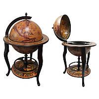 Красивый Глобус бар напольный 450 мм коричневый с полкой на трех ножках и картой древнего мира с кораблями