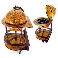 Вместительный Глобус бар напольный 420 мм угловой коричневый с полкой и древней картой мира