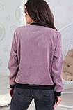 Женская кофта на молнии большого размера 48, 50, 52, 54, микровельвет, бомбер на змейке, Сиреневая, фото 3