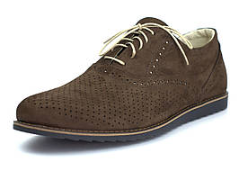 Легкі коричневі туфлі нубук літнє взуття великих розмірів чоловіча Rosso Avangard BS Romano EVA Brown NUBPerf