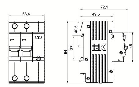 Дифференциальный автоматический выключатель АД12 2Р 25А 10мА IEK, фото 2