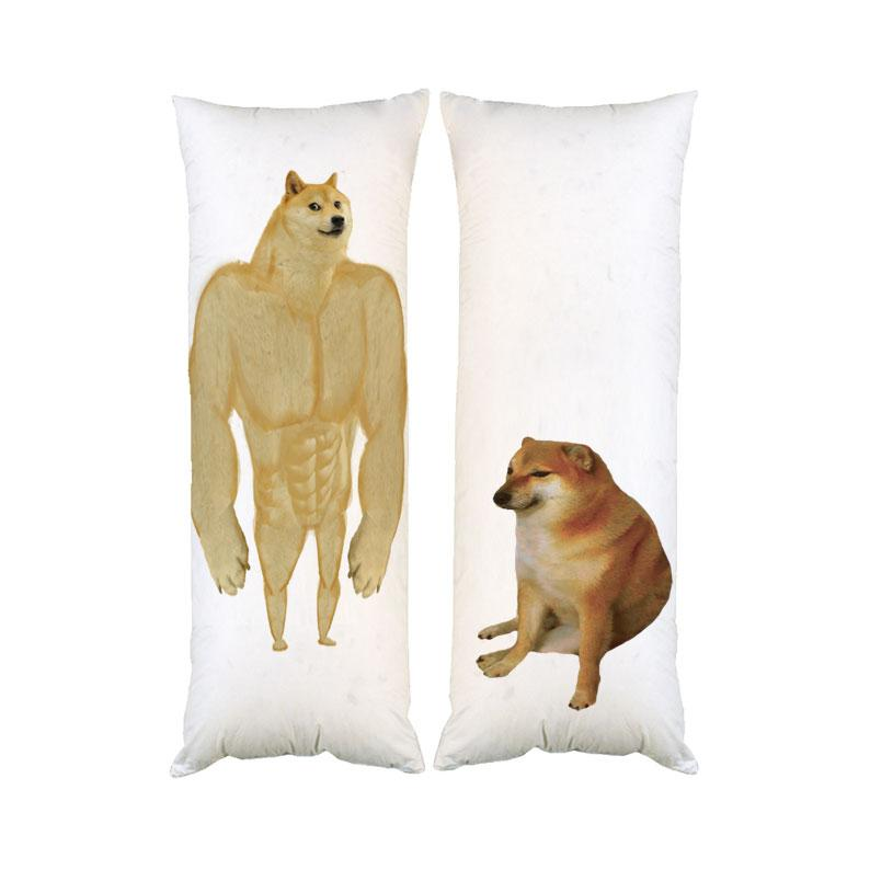 Подушка обнимашка дакимакура Мем Чимс и Доге двухсторонняя 40х100 см со съемной наволочкой (dak0935)