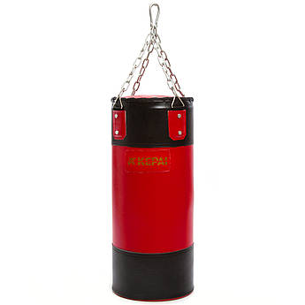 Мешок боксерский Цилиндр с кольцом и цепью PVC h-60см KEPAI (d-25см, черный-красный)