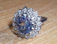 """Красивое колечко """"Звезда"""" со шпинелью, меняющей цвет и белыми сапфирами , размер 16,92 студия LadyStyle.Biz"""