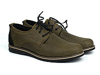 Легкие туфли хаки кожа летние обувь больших размеров мужская Rosso Avangard BS Poly Brown Crazy Perf, фото 1