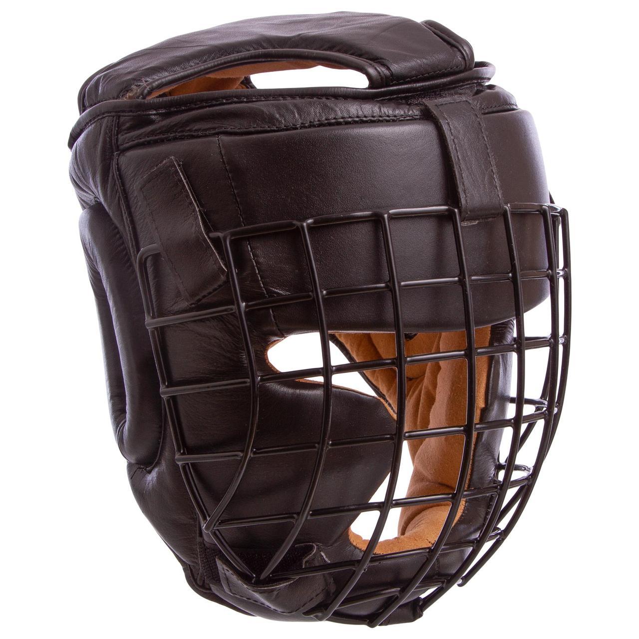 Шлем для единоборств с металлической решеткой кожаный (р-р М-XL, цвета в ассортименте)