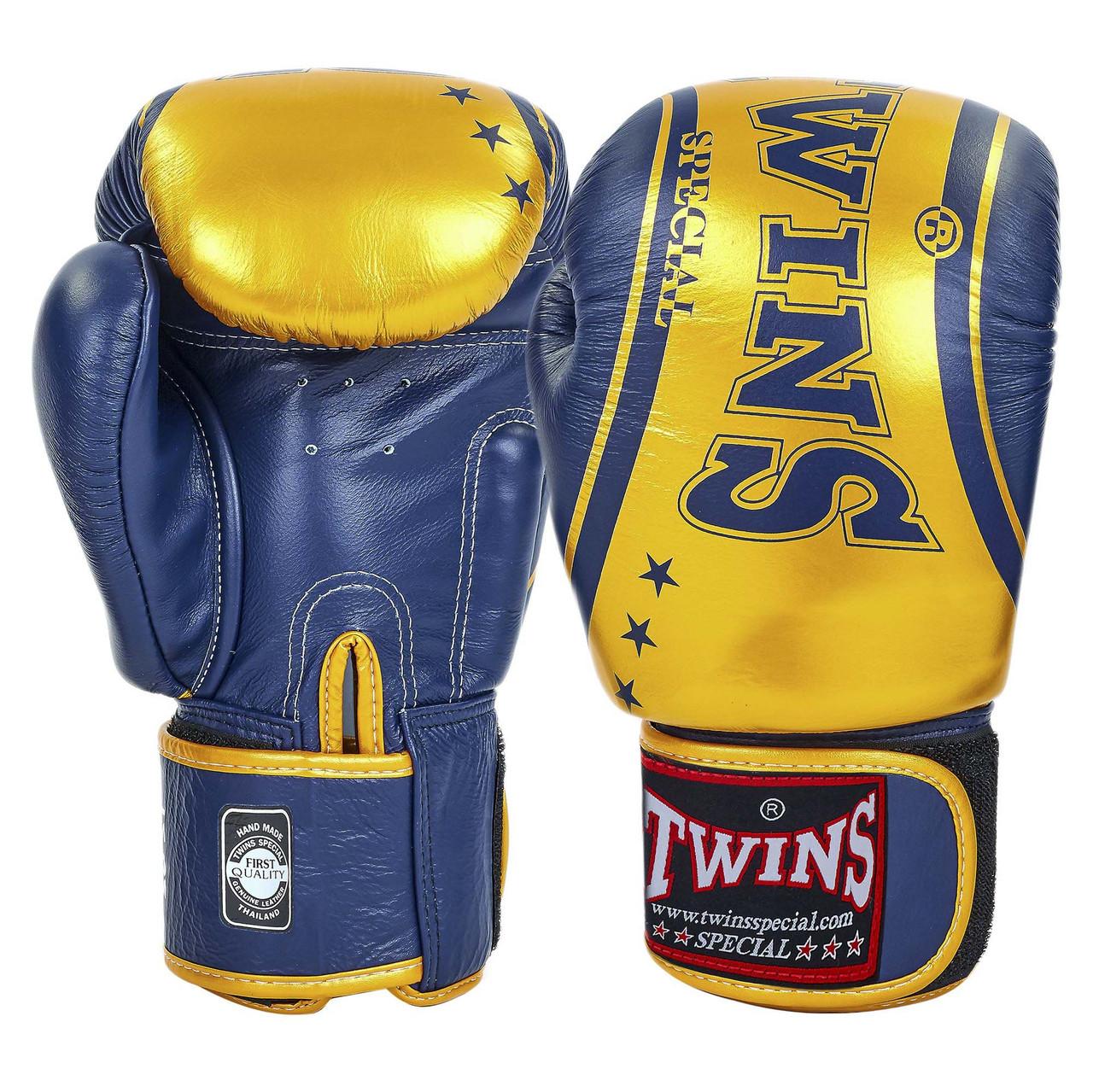 Перчатки боксерские кожаные на липучке TWINS (р-р 10-16oz, цвета в ассортименте)
