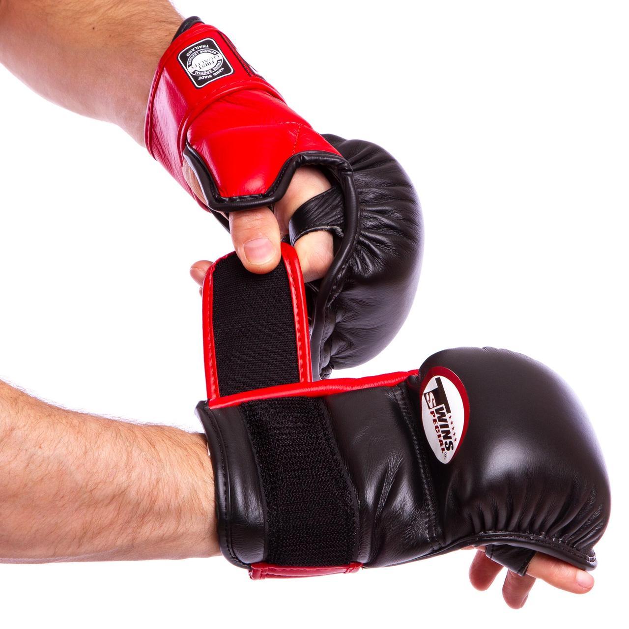 Перчатки гибридные для единоборств ММА кожаные TWINS (р-р M-XL, цвета в ассортименте)