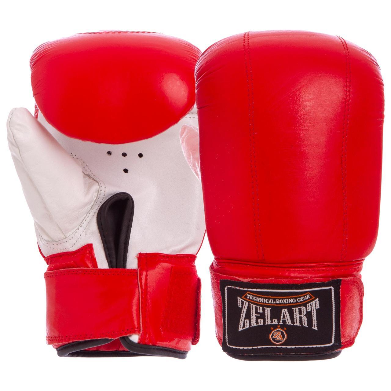Снарядные перчатки с манжетом на липучке Кожа Zelart (р-р M-XL, цвета в ассортименте)