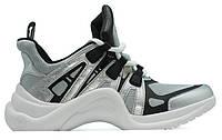 "Жіночі Кросівки Louis Vuitton Sneakers ""Silver Black"" - ""Сірі Білі"""