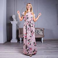 Длинное платье с цветочным принтом капучино