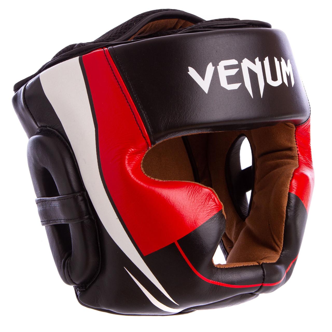 Шлем боксерский с полной защитой кожаный VNM (р-р М-XL, цвета в ассортименте)