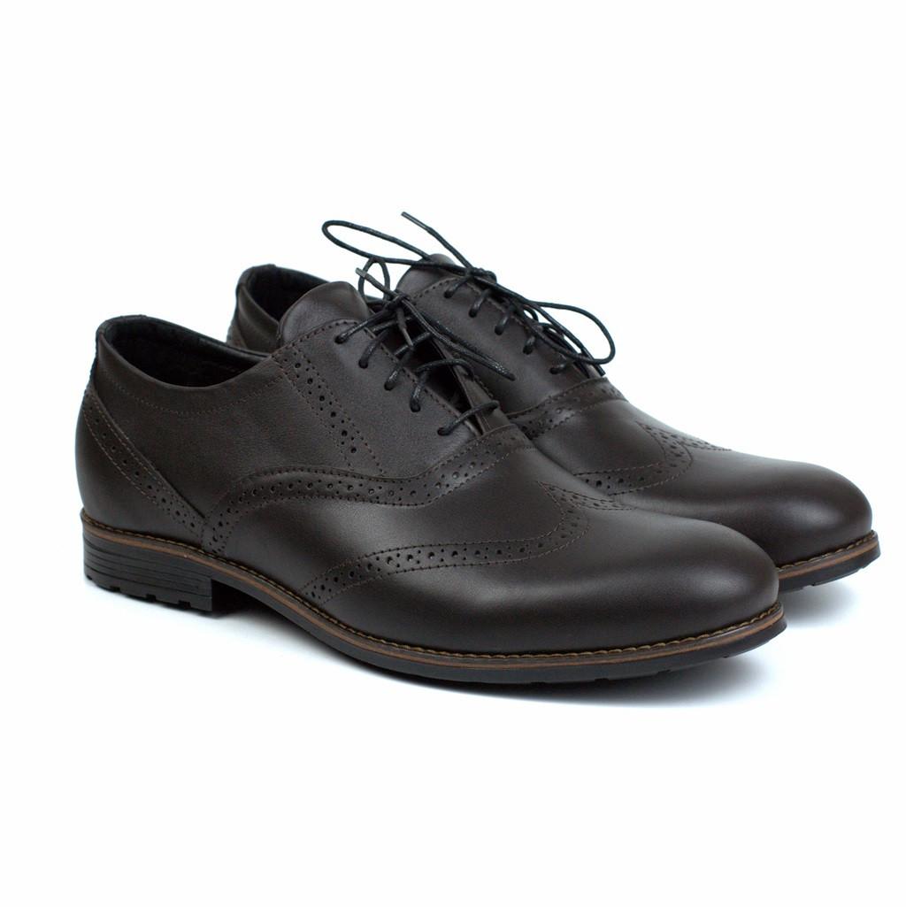 Коричневі чоловічі туфлі з натуральної шкіри броги взуття демісезонне Rosso Avangard Felicete Uomo Brown Crest