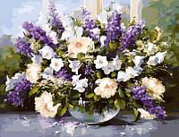 Картина по номерам Идейка КНО1050 Букети Великий букет в скляній вазі 2 40х50см ідейка розпис за номерами