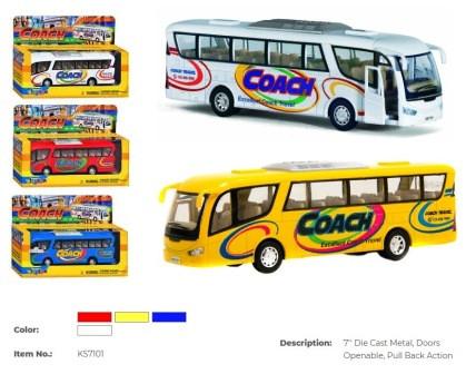 "Модель автобус 7"" KS7101W метал.инерц.откр.дв.кор.ш.к./72/"