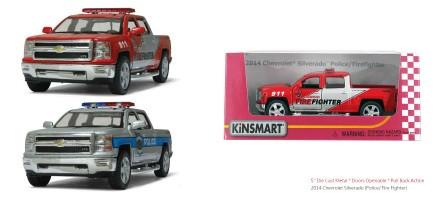 "Модель легковая  5"" KT5381WPR Chevrolet Silverado (Police/Firefighter) метал.инерц.откр.дв.кор./96/"