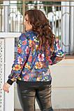Женская тонкая курткабольшого размера 48, 50, 52, 54, плащевка, бомбер, ветровка,Синяя с цветами, фото 3