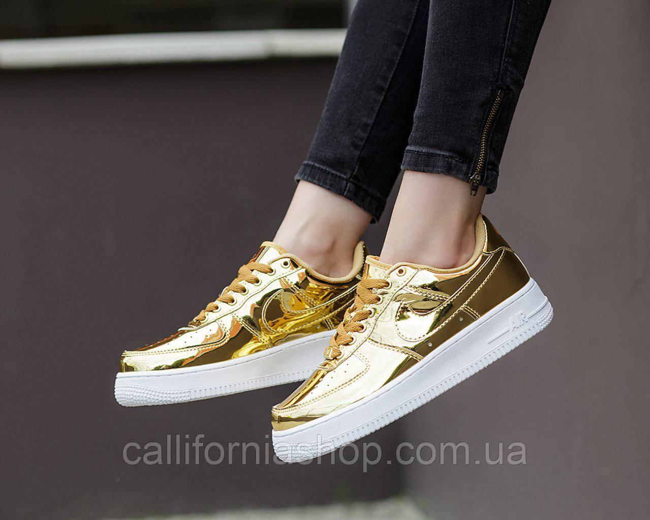 Оригинальные женские золотые кроссовки Nike Air Force 1 SP Liquid Metal Gold  Найк Аир Форс 1