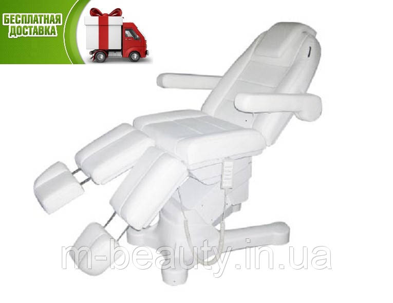 Крісло педикюрне косметологічна кушетка електрична автоматична 5 ел.моторов для подолога педикюру