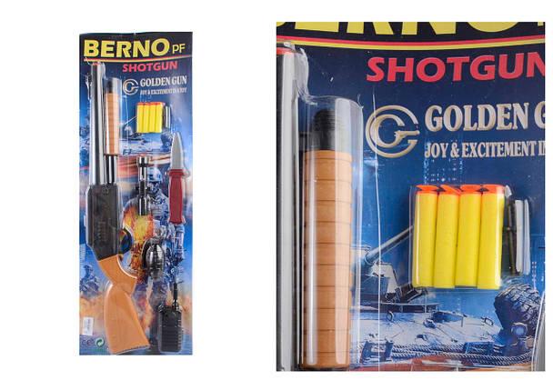 Дробовик Berno з м'якими кулями, гранатою, рацією, прицілом, ножем, планш. 24,5*68*3,5см /18/, фото 2