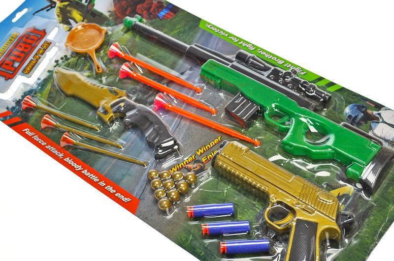 """Набір зброї """"PUBG"""" на поролонових снарядах і кулях, на блістері /60/"""