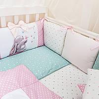 Бортики защита в детскую кроватку Akvarel зайка с бабочкой