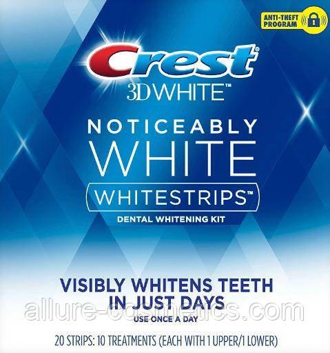 Отбеливающие полоски Crest Noticeably White Whitestrips Dental Whitening Kit (2-3 тона) 1шт.(пара)