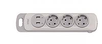 Колодка LUXEL NOTA 3 розетки с заземлением и выключателем +2 USB