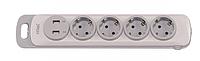 Колодка LUXEL NOTA 4 розетки с заземлением и выключателем +2 USB
