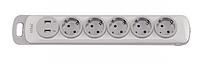 Колодка LUXEL NOTA 5 розетки с заземлением и выключателем +2 USB