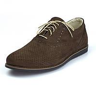 Легкие коричневые туфли нубук летняя обувь мужская Rosso Avangard Romano EVA Brown NUB Perf