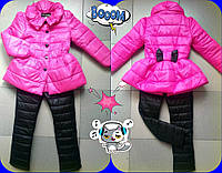 Детский теплый костюм на синтепоне для девочки плащик+брюки / розовый с черным
