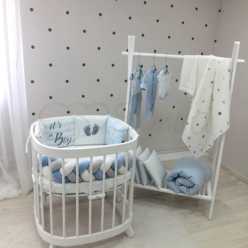 Бортики коса в овальную кроватку Art Design Геометрия голубая