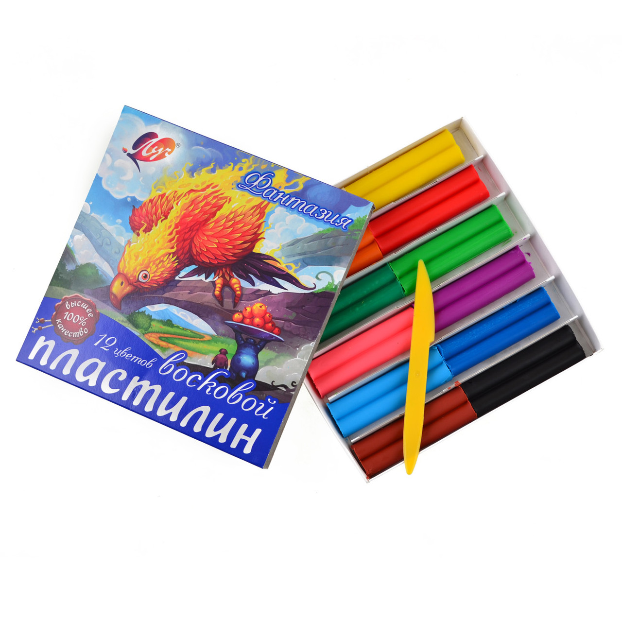 """Пластилин Луч """"Фантазия"""" 12 цв. 25С1523-08, со стеком"""
