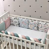 Бортики коса в овальную кроватку Art Design Зайцы Радуги