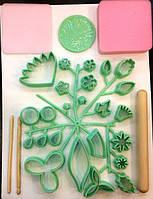 Зеленный набор катеров 32 шт+ скалка +2 стека + 2 губки + книга  мастер классов