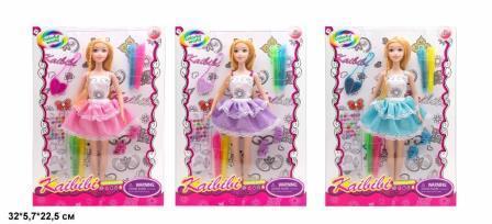 Кукла KAIBIBI 29см BLD169-1 платье-раскраска,наклейки,маркеры.3цв.кор.32*5,7*22,5 /72/