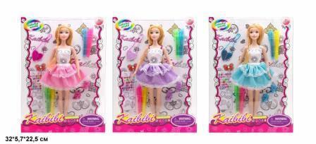 Кукла KAIBIBI 29см BLD169-1 платье-раскраска,наклейки,маркеры.3цв.кор.32*5,7*22,5 /72/, фото 2